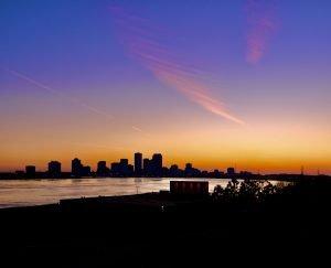 View of New Orleans skyline at sunset taken by drug crime defense lawyer Stephen J. Haedicke